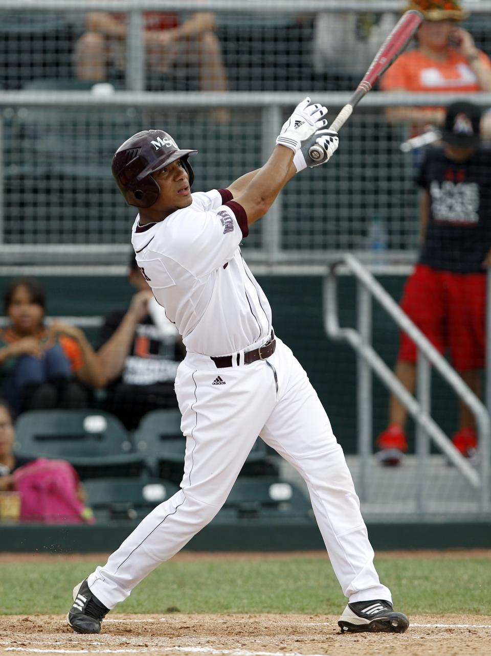 Missouri State's Keenen Maddox watches after hitting a double to score Brent Seifert in the second inning during an NCAA college baseball tournament regional game against Miami, Saturday, June 2, 2012, in Coral Gables, Fla. (AP Photo/Lynne Sladky)
