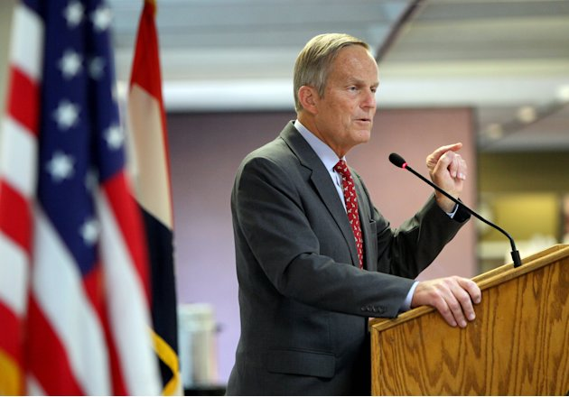 FILE  - This Aug. 10, 2012 file photo shows Todd Akin, Republican, candidate for U.S. Senator from Missouri, speaks at the Missouri Farm Bureau candidate interview and endorsement meeting in Jefferson