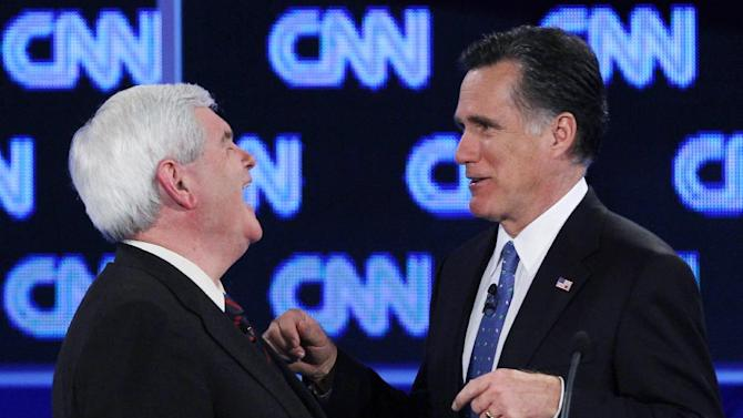 "FILE - In this Jan. 26, 2012 file photo, Republican presidential candidates, former House Speaker Newt Gingrich and former Massachusetts Gov. Mitt Romney talk during a commercial break at the Republican presidential candidates debate in Jacksonville, Fla. Remember Gingrich calling Romney a liar? Michele Bachmann saying Romney's unelectable? Rick Santorum calling Romney ""the worst Republican in the country"" to run against Obama? They're hoping you don't. And acting like it never happened _ even though most of their words are just clicks away online. (AP Photo/Matt Rourke, File)"