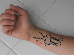 robot love tattoo