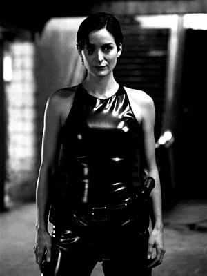 Carrie-Anne Moss as Trinity in Warner Brothers' The Matrix