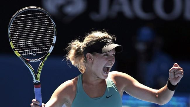 Eugenie Bouchard of Canada celebrates in Melbourne on Tuesday, Jan. 21, 2014. THE CANADIAN PRESS/AP, Rick Rycroft