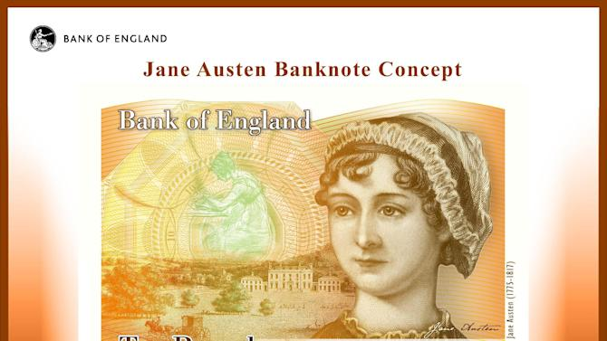 This computer generated image provided by the Bank of England Wednesday July 24, 2013, shows the concept design for the reverse of the new 10-pound note with a picture of Jane Austen. The Bank of England chose the chronicler of 18th century English country life as the new face of the note, bowing to critics who complained that the venerable institution was ignoring women as candidates to be featured on the currency. (AP Photo/Bank of England)