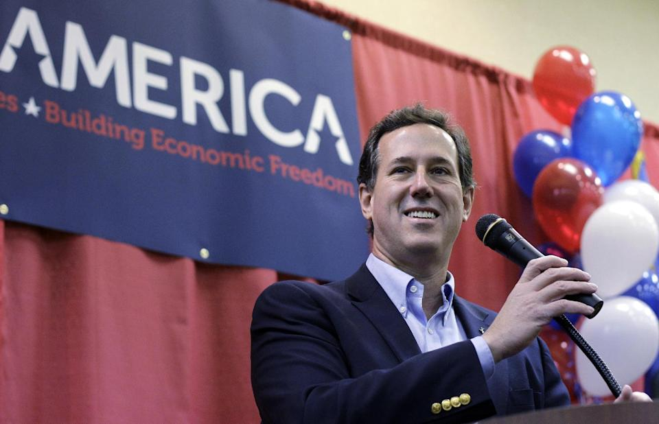 Republican presidential candidate, former Pennsylvania Sen. Rick Santorum speaks during a rally, Thursday, Feb. 9, 2012, in Oklahoma City. (AP Photo/Eric Gay)