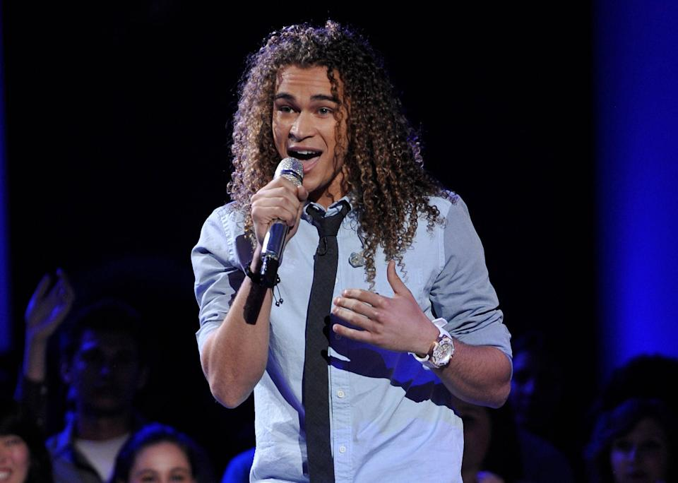 "In this April 4, 2012 photo released by Fox, DeAndre Brackensick performs on the singing competition series ""American Idol,"" in Los Angeles. (AP Photo/Fox, Michael Becker)"