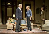 This theater image released by Jeffrey Richards Associates shows, from left, Carrie Coon, Tracy Letts, Amy Morton and Madison Dirks during a performance of Edward Albee's Who's Afraid of Virginia Woolf, opening Oct. 13, 2012 at the Booth Theatre in New York. (AP Photo/Jeffrey Richards Associates, Michael Brosilow)
