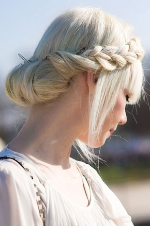 Milkmaid Braid with Blunt Bangs
