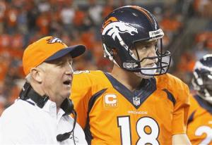 Denver Broncos' Manning listens to Broncos head coach Fox in NFL football game against Baltimore Ravens in Denver