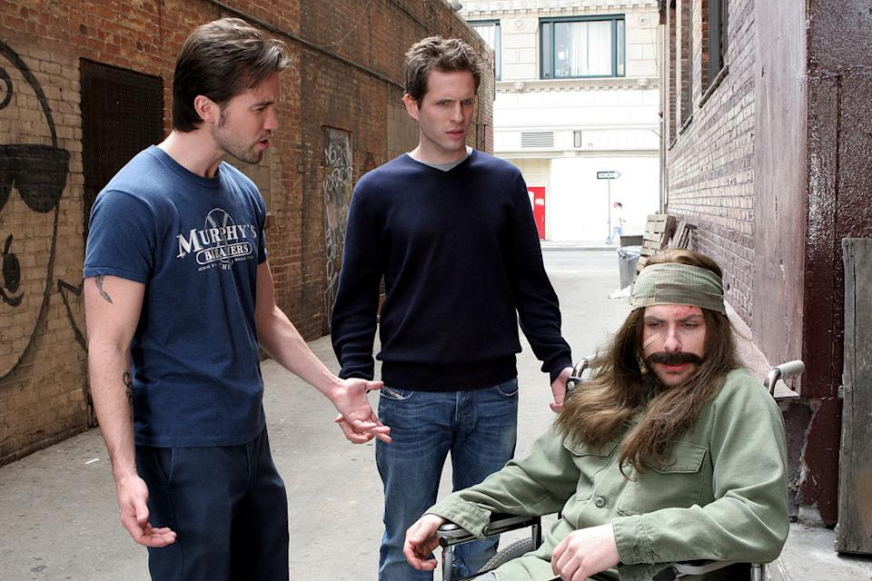 Rob McElhenney as Mac, Glenn Howerton as Dennis and Charlie Day as Charlie It's Always Sunny In Philadelphia.