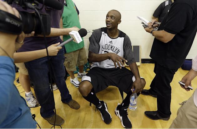 Brooklyn Nets' Jason Terry speaks with members of the media during NBA basketball training camp at Duke University in Durham, N.C., Tuesday, Oct. 1, 2013