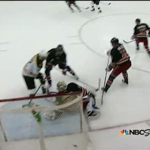 Iginla scores in front from Krejci setup
