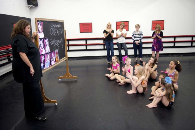 "Abby Lee Miller speaks to the mothers and the students in ""Dance Moms."""