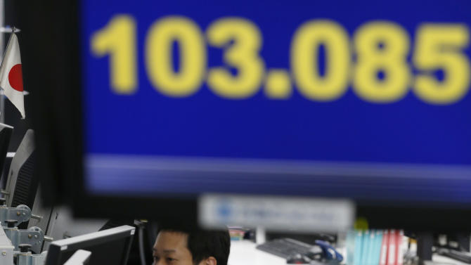 Money traders work under a screen indicating the U.S. dollar is traded at 103.085 yen at a foreign exchange company in Tokyo, Thursday, May 23, 2013.  The dollar fell to 103 yen level. (AP Photo/Shizuo Kambayashi)