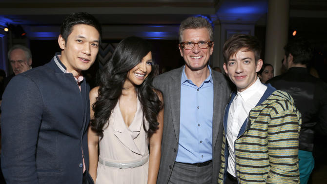 Harry Shum Jr., Naya Rivera, Chairman of Entertainment, FOX Broadcasting Company Kevin Reilly and Kevin McHale attend the Fox Winter TCA All Star Party at the Langham Huntington Hotel on Tuesday, Jan. 8, 2013, in Pasadena, Calif. (Photo by Todd Williamson/Invision/AP)