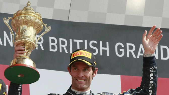 "FILE - This is a Sunday, July 8, 2012 file photo of Australia's Mark Webber, as he celebrates after winning the Formula One British Grand Prix at the Silverstone circuit, Silverstone, England. Red Bull driver Mark Webber says he is leaving Formula 1 to race Porsche sports cars from next season. The Australian's website says in a statement from Porsche that he has signed a contract with the German company ""that extends over several years"" and that he will compete in the Le Mans 24 Hours and World Endurance Championship next year. (AP Photo/Tim Hales, File)"