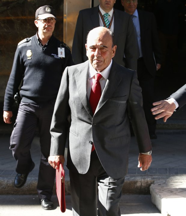Botin, chairman of Eurozone's largest bank Santander, sticks out his tongue while leaving a Spanish High court in Madrid