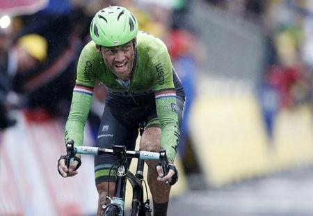 Lars Boom of the Netherlands crosses the finish line to win the 155.5 km fifth stage of the Tour de France cycling race