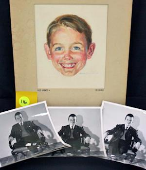 This photo provided by Brookline Auction Gallery of Brookline, N.H., Friday, April 18, 2014, shows a watercolor by Robert Childress and photos of the model used to paint it. The portrait is of Dick of the Dick and Jane series of books that helped teach generations of children to read. The portrait along with other artwork by Childress is being auctioned off this month. (AP Photo/Brookline Auction Gallery)