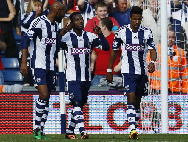 West Bromwich Albion's Sessegnon celebrates his goal against Sunderland during their English Premier League soccer match in West Bromwich