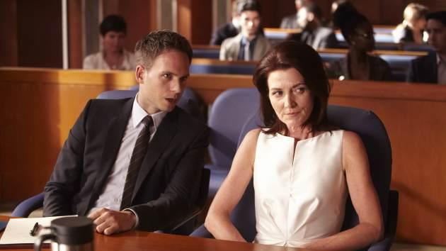 Patrick J. Adams as Mike Ross and Michelle Fairley as Ava Hessington in 'Suits' Season 3 -- USA