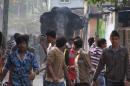A wild elephant that strayed into the town moves through the streets as people follow at Siliguri in West Bengal state, India, Wednesday, Feb. 10, 2016. The elephant had wandered from the Baikunthapur forest on Wednesday, crossing roads and a small river before entering the town. The panicked elephant ran amok, trampling parked cars and motorbikes before it was tranquilized. (AP Photo)