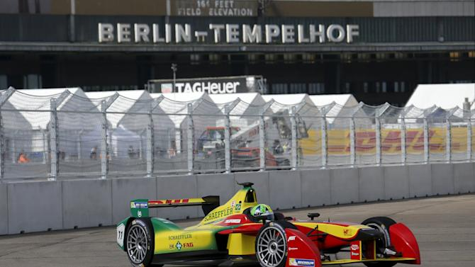 First placed Audi Sport ABT driver Di Grassi of Brazil drives his car during the Formula E Championship race at the former Tempelhof airport in Berlin