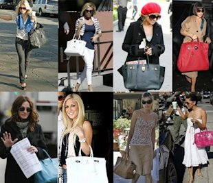 Celebs love their Hermes Birkin bags, but they start at $5,000 and have massive waiting lists. Photo via celebs-style.blogspot.com