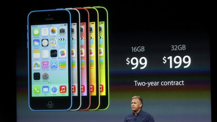 Phil Schiller, senior vice president of worldwide marketing for Apple Inc, talks about the pricing of the new iPhone 5C at Apple Inc's media event in Cupertino