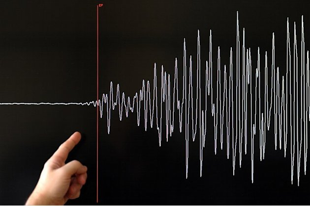 A scientist points to a seismograph that was recorded by an earthquake monitoring station in Strasbourg, France