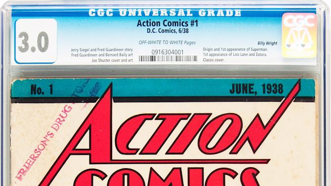 This Feb. 13, 2012 handout photo provided by Heritage Auction shows the CGC-Certified 3.0 copy of Action Comics #1 from the Billy Wright Collection at Heritage Auctions in Dallas,Texas. On Wednesday, the collection is expected to bring more than $2 million when Heritage Auctions offers the comics at auction in New York City. (AP Photo/Courtesy of Heritage Auctions)