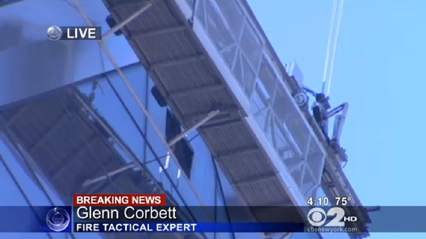 Hearst Tower Is a Scene of Nightmares as Window Washers Hold on in the Sky