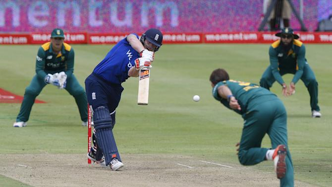 England's Stokes plays a shot during the One Day International Cricket match against South Africa in Cape Town