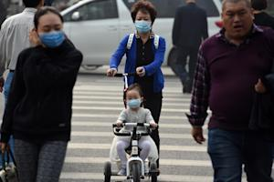 A woman and child wear masks on a polluted day in Beijing…