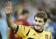 Spanish goalkeeper Iker Casillas celebrates after the Euro 2012 football championships final match Spain vs Italy at the Olympic Stadium in Kiev. Spain won 4-0