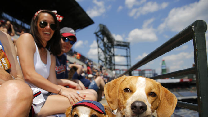 Fans enjoy Bark in the Park day with their dogs prior to a  baseball game between the Cincinnati Reds and the Atlanta Braves, Sunday, May 3, 2015, in Atlanta. (AP Photo/Todd Kirkland)