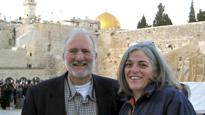 This handout photo provided by the Gross family, taken in 2005, Alan and Judy Gross are seen in Jerusalem. In the year her American husband has been detained in Cuba, accused of spying for the U.S., Judy Gross has been forced to sell the family home in Maryland and move into a small apartment in Washington. Her younger daughter, distraught and crying as her father's birthday approached, crashed and totaled her car. Her older daughter has been diagnosed with breast cancer. (AP Photo/Gross Family)