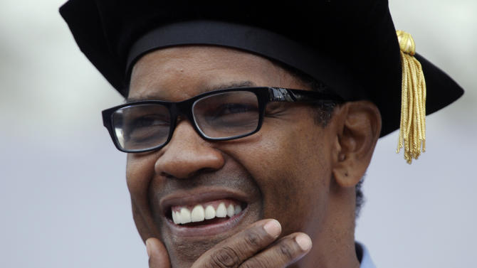 Actor Denzel Washington makes remarks during the University of Pennsylvania's 255th Commencement Monday, May 16, 2011, in Philadelphia. Washington, whose son Malcolm  attends the Ivy League school, received an honorary degree at the ceremony.  (AP Photo/Matt Rourke)