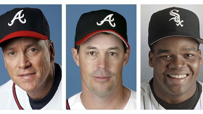FILE - From left are Tom Glavine in 2008, Greg Maddux in 2008, and Frank Thomas in 1994 file photos. Glavine, Maddux and Thomas were selected to the Baseball Hall of Fame, Wednesday, Jan. 8, 2014. (AP Photo/File)