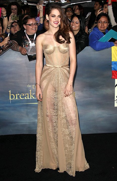 "We can't talk ""Breaking Dawn - Part 2"" premiere fashion without mentioning the awesomeness of KStew's engaging ensemble. Wearing a corseted Zuhair Murad dress was a massive risk, but the 22-year-old's"