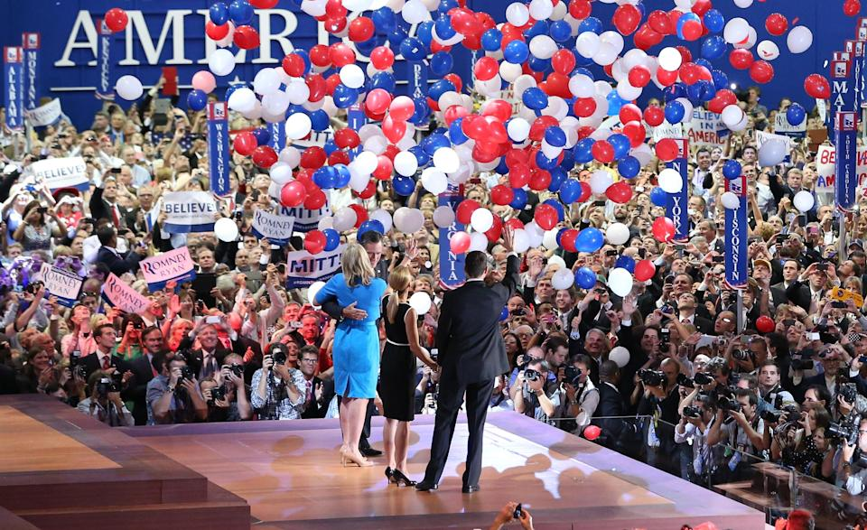 Republican presidential candidate Mitt Romney and vice presidential candidate Paul Ryan are on stage with their wives Ann Romney and Janna Ryan at the end of the Republican National Convention in Tampa, Fla., on Thursday, Aug. 30, 2012. (AP Photo/Jae C. Hong)