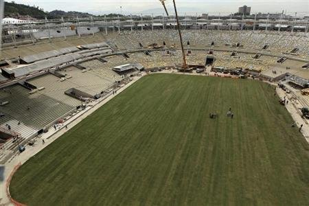 An aerial view shows a new planted grass at the Maracana Stadium, which is undergoing renovation for the 2014 World Cup, in Rio de Janeiro