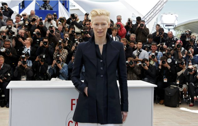"Cast members Tilda Swinton poses during a photocall for the film ""Only Lovers Left Alive"" at the 66th Cannes Film Festival"