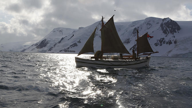 "In this Jan. 16, 2013 photo released by Shackleton Epic, adventurers aboard their boat Alexander Shackleton train sailing in the Southern Ocean. A modern-day team of six led by Tim Jarvis and Barry ""Baz"" Gray used similar equipment and clothes to re-enact a 1916 expedition led by Ernest Shackleton to save his crew after their ship got stuck in Antarctica's icy waters. They reached an old whaling station on remote South Georgia island Monday, Feb. 11, 2013, 19 days after leaving Elephant Island. Just as Shackleton did in 1916, Jarvis and his team sailed 800 nautical miles across the Southern Ocean in a small lifeboat and then climbed over crevasse-filled mountains in South Georgia.  (AP Photo/Shackleton Epic, Ed Wardle)"