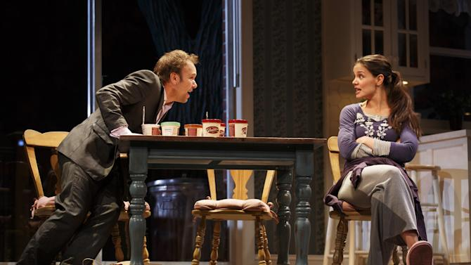 "FILE- This undated file photo provided by Boneau/Bryan-Brown shows Nobert Leo Butz as Jack, left, and Katie Holmes as Lorna, in a scene from ""Dead Accounts"" at Broadway's Music Box theatre in New York.  Holmes' play ""Dead Accounts"" will close within a week of the new year. Producers said Thursday, Dec. 27, 2012, that Theresa Rebeck's drama will close on Jan. 6 after 27 previews and 44 performances.(AP Photo/Boneau/Bryan-Brown, Joan Marcus, File)"