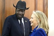 US Secretary of State Hillary Clinton meets with South Sudan President Salva Kiir in Juba on August 3. Sudan and South Sudan have hammered out a deal over oil, one of a series of bitter disputes that brought the rivals to the brink of all-out war earlier this year, African Union mediator Thabo Mbeki said after long-running talks in the Ethiopian capital