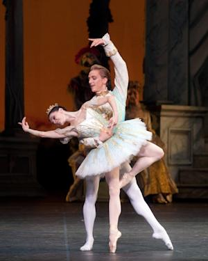 "FILE - In this June 19, 2010 file image released by the American Ballet Theater, Natalia Osipova and David Hallberg perform in ""The Sleeping Beauty,"" in New York. Hallberg is heading for Moscow, to become a ""premier"" dancer with the famed Bolshoi Ballet.  (AP Photo/ABT, Rosalie O'Connor)"