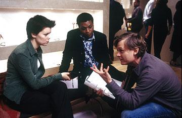 Sarah Jane Potts and Chiwetel Ejiofor with director Julian Jarrold on the set of Miramax's Kinky Boots