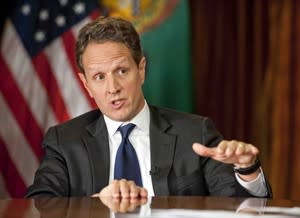 "This Nov. 30, 2012, photo provided by CBS News shows Treasury Secretary Timothy Geithner answering questions about averting the ""fiscal cliff"" on the December 2nd edition of ""Face the Nation."" Geithner said Republicans have to stop using fuzzy ""political math"" and say how much they are willing to raise tax rates on the wealthiest 2 percent of Americans and then specify the spending cuts they want, Treasury Secretary. (AP Photo/CBS News, Chris Usher)"