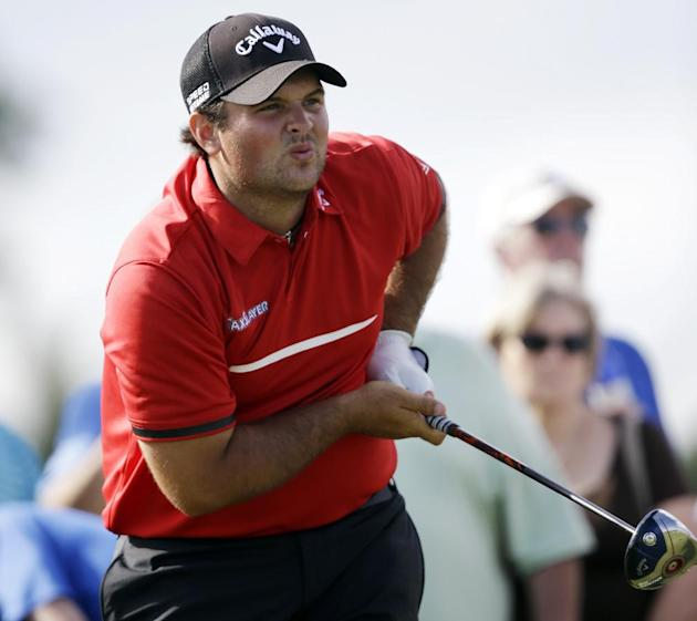 Patrick Reed watches his shot on the 11th hole during the final round of the Cadillac Championship golf tournament Sunday, March 9, 2014, in Doral, Fla