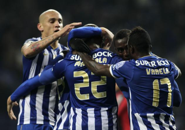 Porto's Mangala celebrates his goal against Olhanense with his teammates during their Portuguese Premier League soccer match at Dragao stadium in Porto